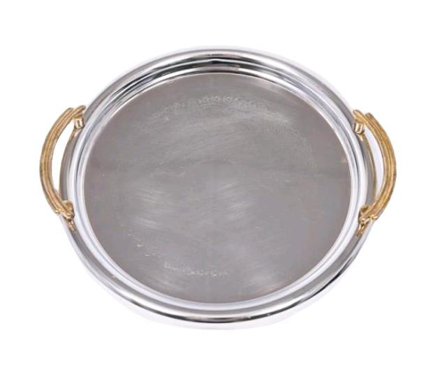 Where to find Serving, Silver w  Gold Handles Tray in Portland